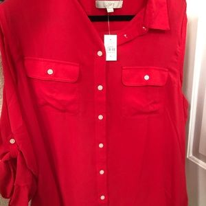 Loft button down red blouse